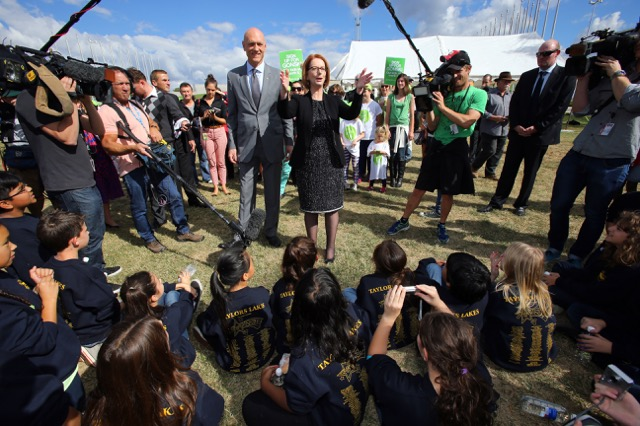 APRIL 18, 2013: CANBERRA, ACT. Prime Minister Julia Gillard and Education Minister Peter Garrett meet with representatives of the Australian Education Union (AEU) on the lawns of Federal Parliament House in Canberra, Australian Capital Territory where the AEU unveiled a 20m banner in support of the Gonski school funding reform. (Photo by Gary Ramage / Newspix) Contact Email: newspix@newsltd.com.au Contact Web URL: www.newspix.com.au Contact Email: newspix@newsltd.com.au