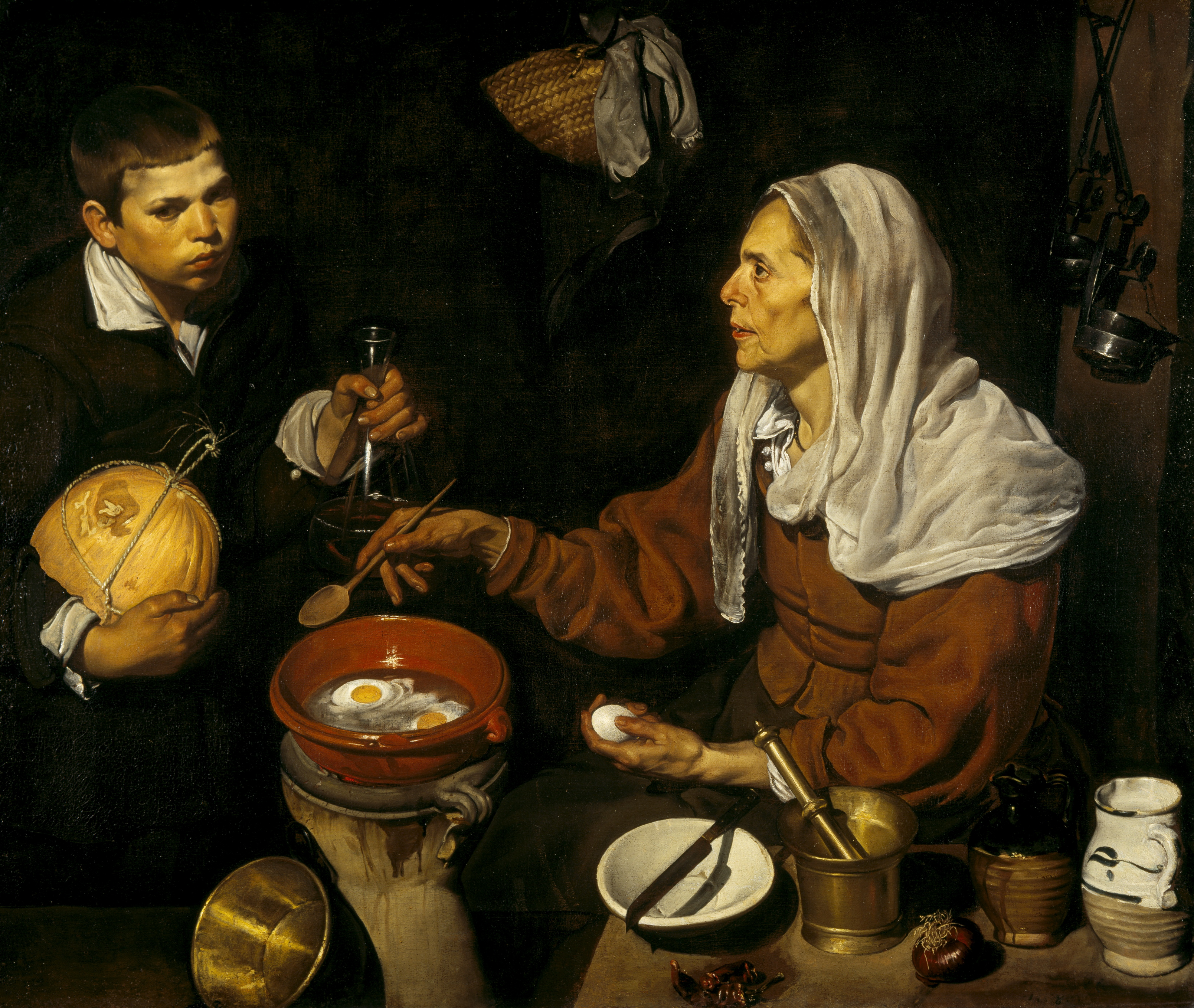 Diego Velázquez An old woman cooking eggs 1618 oil on canvas 100.5 x 119.5 cm Scottish National Gallery, Edinburgh © Trustees of the National Galleries of Scotland ***This image may only be used in conjunction with editorial coverage of The Greats exhibition, 24 Oct 2015 - 14 Feb 2016, at the Art Gallery of New South Wales. This image may not be cropped or overwritten. Prior approval in writing required for use as a cover. Caption details must accompany reproduction of the image. *** Media contact: Lisa.Catt@ag.nsw.gov.au *** Local Caption *** ***This image may only be used in conjunction with editorial coverage of The Greats exhibition, 24 Oct 2015 - 14 Feb 2016, at the Art Gallery of New South Wales. This image may not be cropped or overwritten. Prior approval in writing required for use as a cover. Caption details must accompany reproduction of the image. *** Media contact: Lisa.Catt@ag.nsw.gov.au