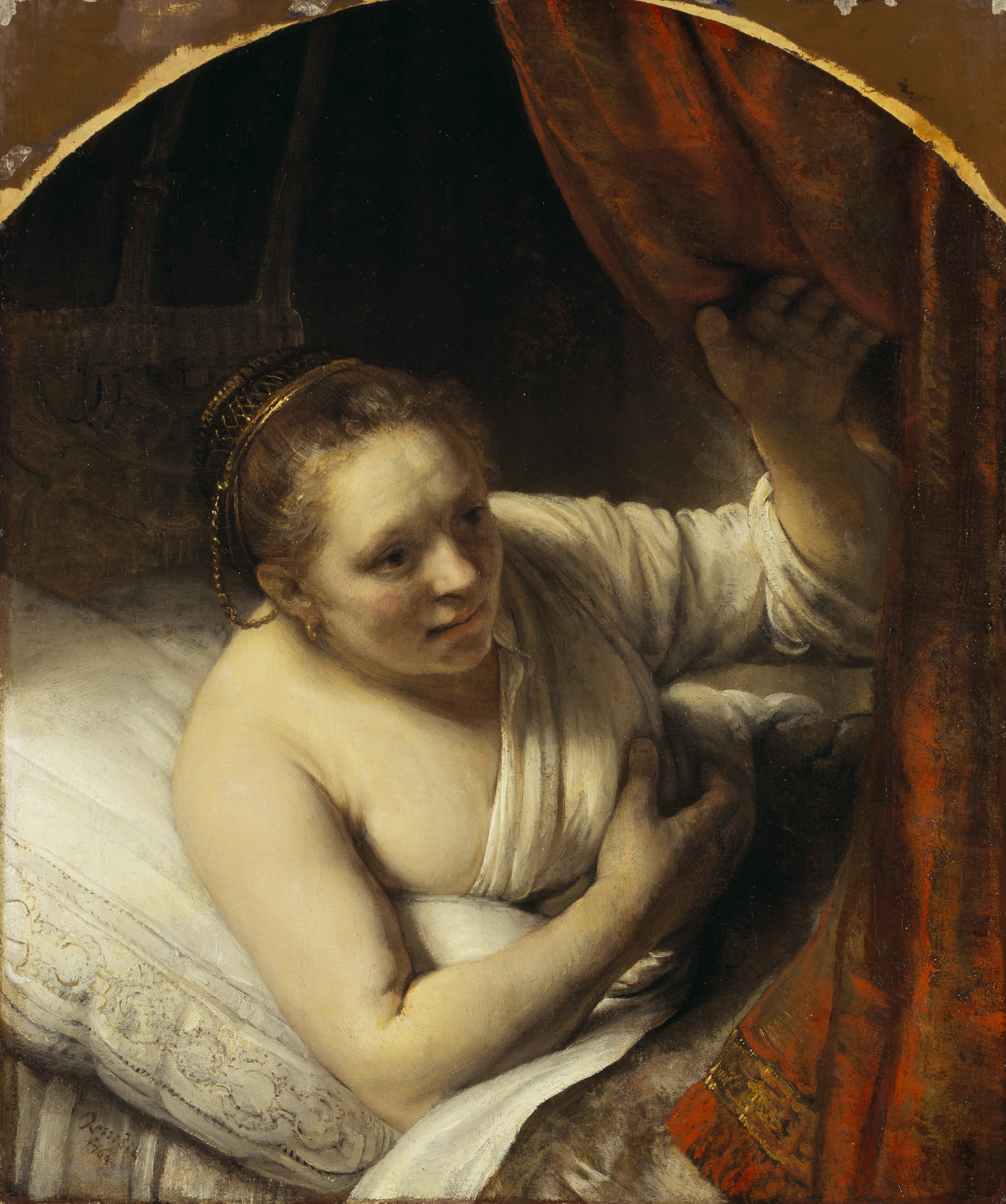 Rembrandt van Rijn A woman in bed 164(7?) oil on canvas 81.4 x 67.9 cm Scottish National Gallery, Edinburgh © Trustees of the National Galleries of Scotland ***This image may only be used in conjunction with editorial coverage of The Greats exhibition, 24 Oct 2015 - 14 Feb 2016, at the Art Gallery of New South Wales. This image may not be cropped or overwritten. Prior approval in writing required for use as a cover. Caption details must accompany reproduction of the image. *** Media contact: Lisa.Catt@ag.nsw.gov.au *** Local Caption *** ***This image may only be used in conjunction with editorial coverage of The Greats exhibition, 24 Oct 2015 - 14 Feb 2016, at the Art Gallery of New South Wales. This image may not be cropped or overwritten. Prior approval in writing required for use as a cover. Caption details must accompany reproduction of the image. *** Media contact: Lisa.Catt@ag.nsw.gov.au