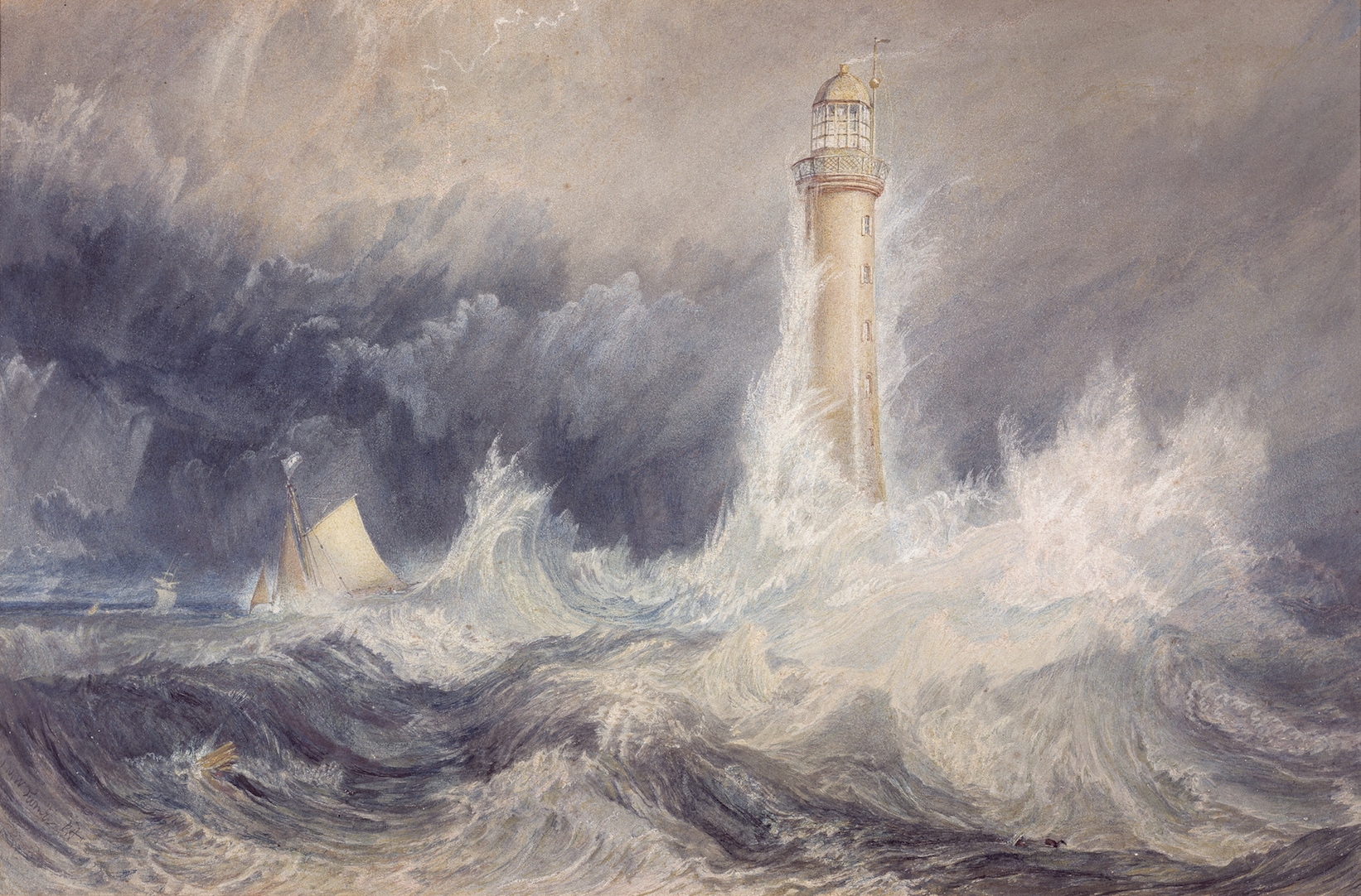 Joseph Mallord William (JMW) Turner The Bell Rock lighthouse 1819 watercolour and gouache with scratching out on paper 30.6 x 45.5 cm Scottish National Gallery, Edinburgh © Trustees of the National Galleries of Scotland ***This image may only be used in conjunction with editorial coverage of The Greats exhibition, 24 Oct 2015 - 14 Feb 2016, at the Art Gallery of New South Wales. This image may not be cropped or overwritten. Prior approval in writing required for use as a cover. Caption details must accompany reproduction of the image. *** Media contact: Lisa.Catt@ag.nsw.gov.au