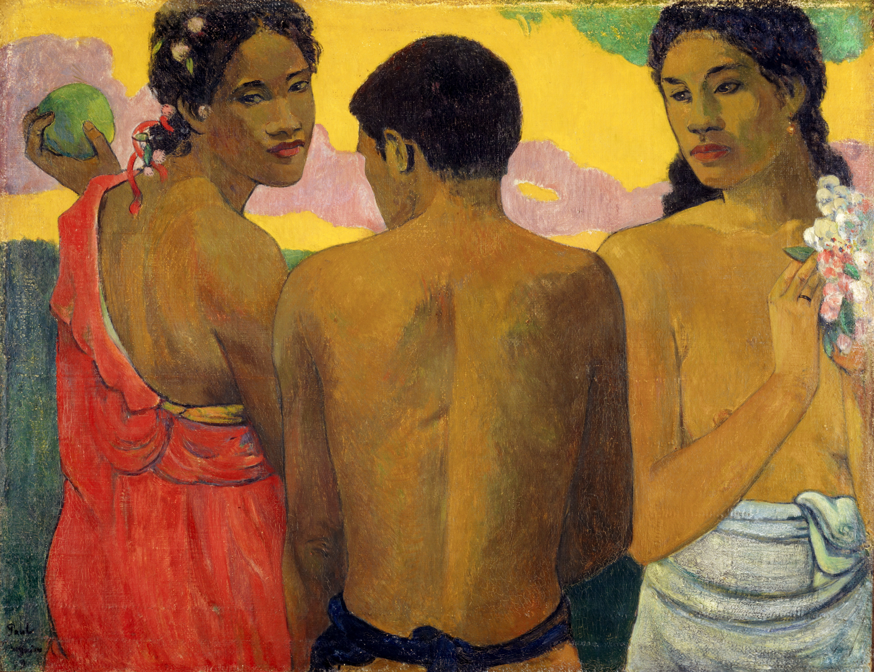 Paul Gauguin Three Tahitians 1899 oil on canvas 73 x 94 cm Scottish National Gallery, Edinburgh © Trustees of the National Galleries of Scotland ***This image may only be used in conjunction with editorial coverage of The Greats exhibition, 24 Oct 2015 - 14 Feb 2016, at the Art Gallery of New South Wales. This image may not be cropped or overwritten. Prior approval in writing required for use as a cover. Caption details must accompany reproduction of the image. *** Media contact: Lisa.Catt@ag.nsw.gov.au *** Local Caption *** ***This image may only be used in conjunction with editorial coverage of The Greats exhibition, 24 Oct 2015 - 14 Feb 2016, at the Art Gallery of New South Wales. This image may not be cropped or overwritten. Prior approval in writing required for use as a cover. Caption details must accompany reproduction of the image. *** Media contact: Lisa.Catt@ag.nsw.gov.au