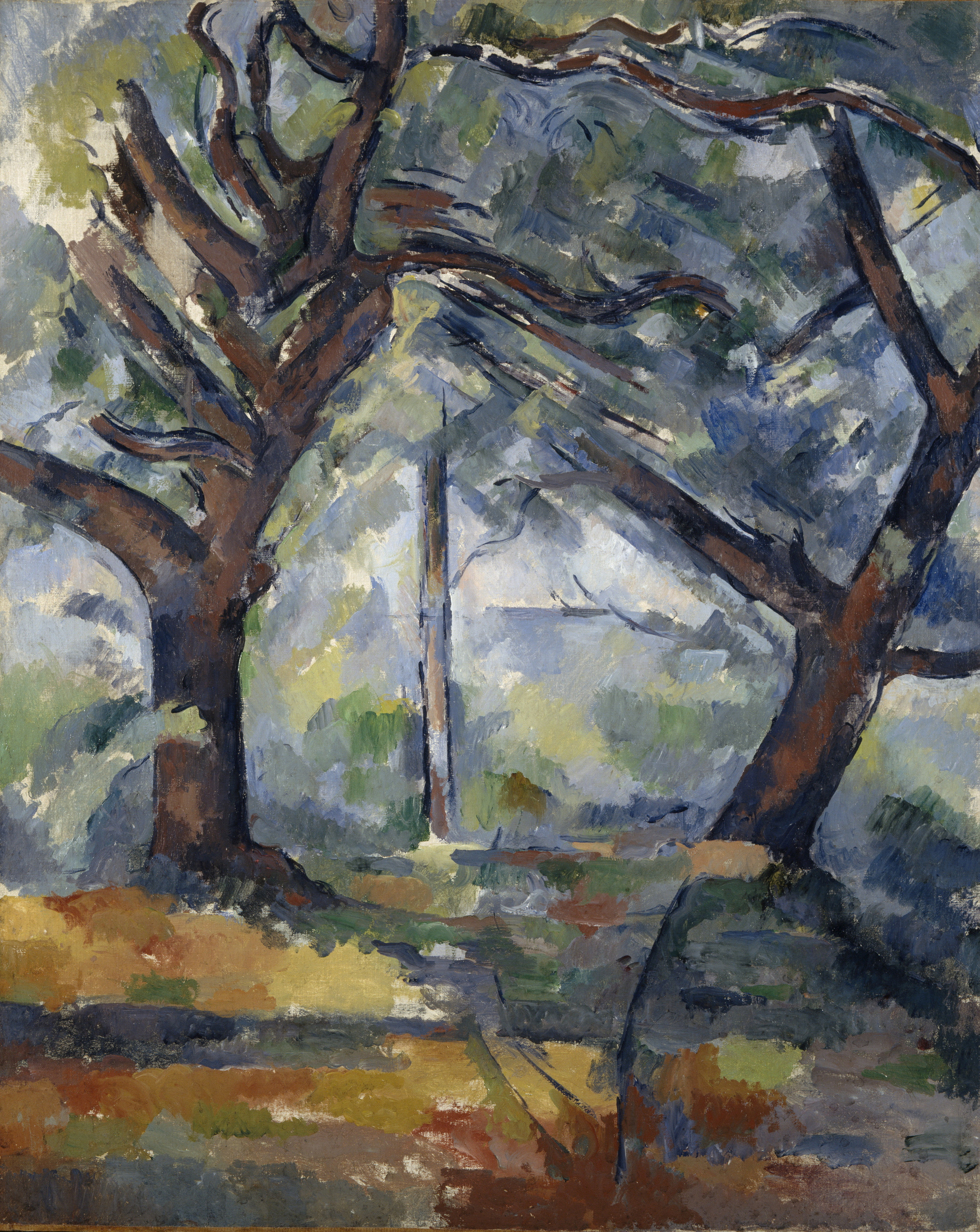 Paul Cezanne The big trees c1904 oil on canvas 81 x 65 cm Scottish National Gallery, Edinburgh © Trustees of the National Galleries of Scotland ***This image may only be used in conjunction with editorial coverage of The Greats exhibition, 24 Oct 2015 - 14 Feb 2016, at the Art Gallery of New South Wales. This image may not be cropped or overwritten. Prior approval in writing required for use as a cover. Caption details must accompany reproduction of the image. *** Media contact: Lisa.Catt@ag.nsw.gov.au *** Local Caption *** ***This image may only be used in conjunction with editorial coverage of The Greats exhibition, 24 Oct 2015 - 14 Feb 2016, at the Art Gallery of New South Wales. This image may not be cropped or overwritten. Prior approval in writing required for use as a cover. Caption details must accompany reproduction of the image. *** Media contact: Lisa.Catt@ag.nsw.gov.au